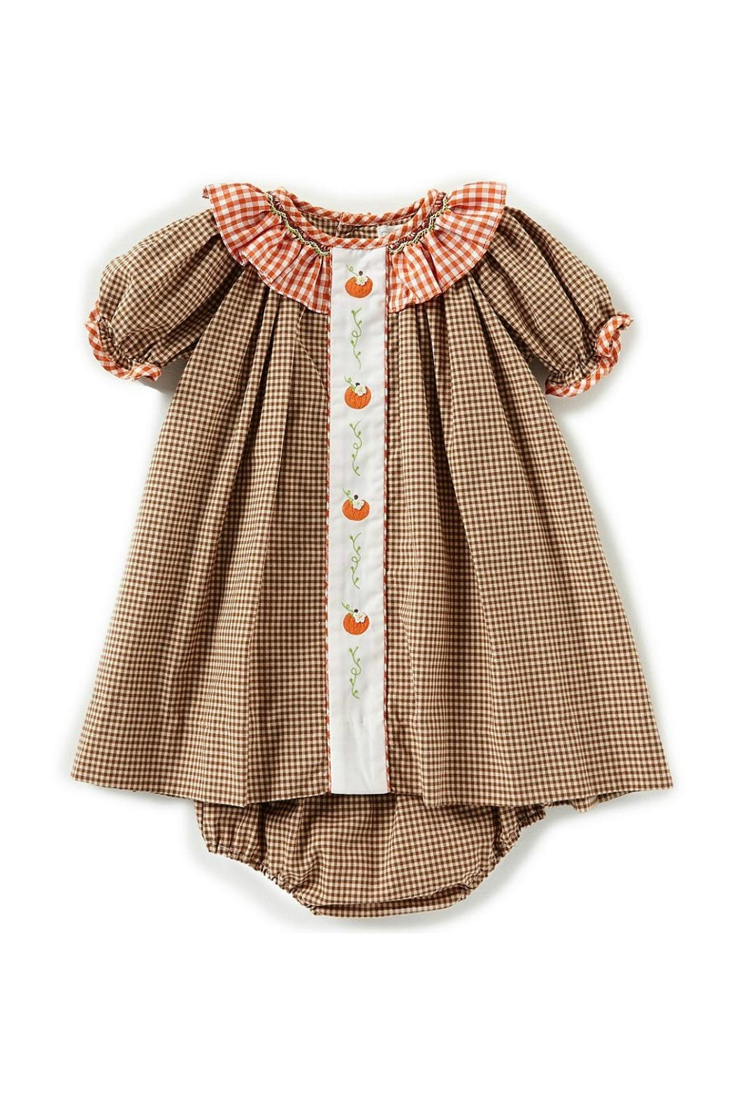 Petit Ami Pumpkin-Embroidered-Gingham-Dress-With-Bloomers - Front Cropped Image