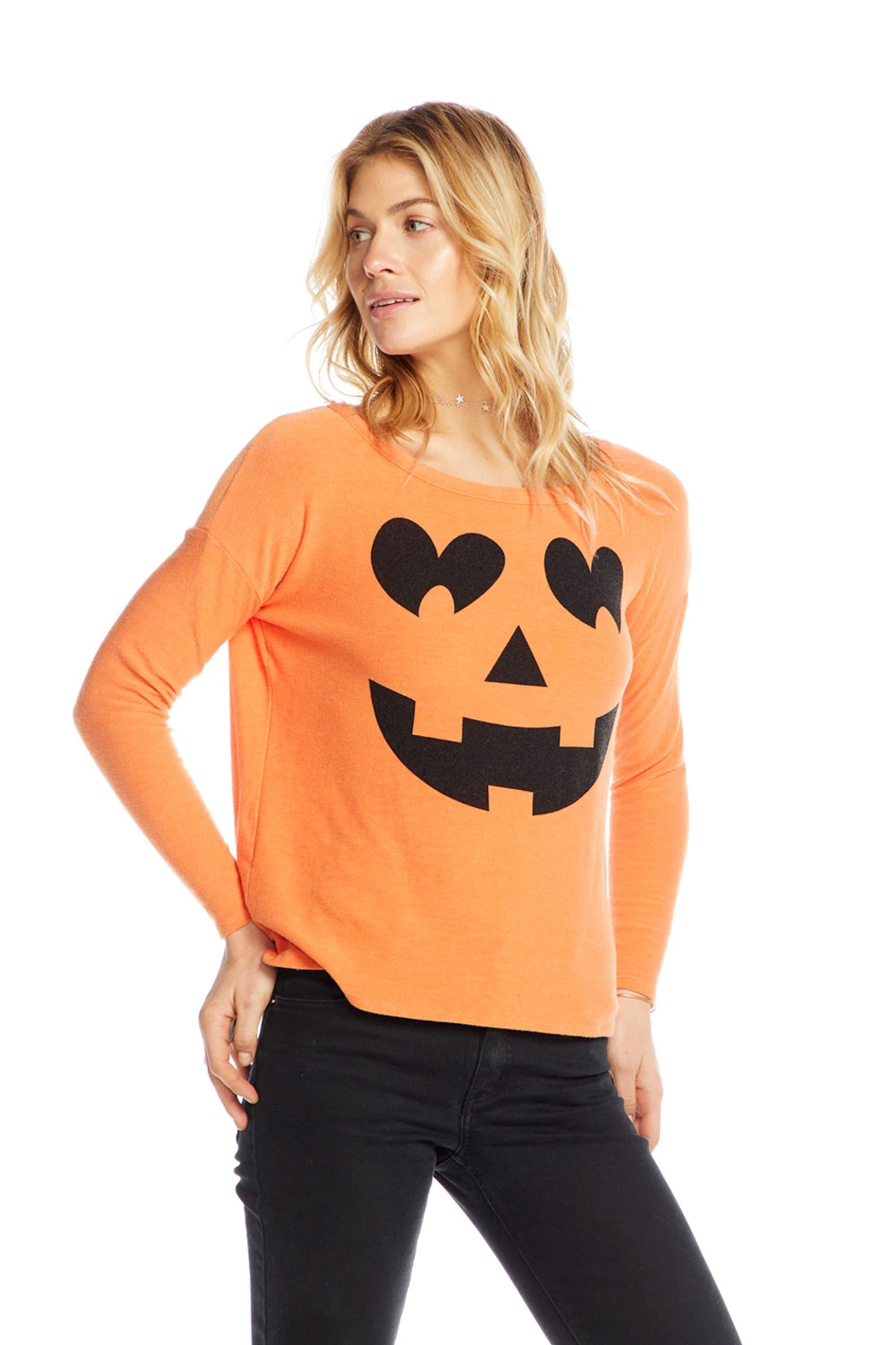 Chaser Pumpkin Face Knit - Front Cropped Image
