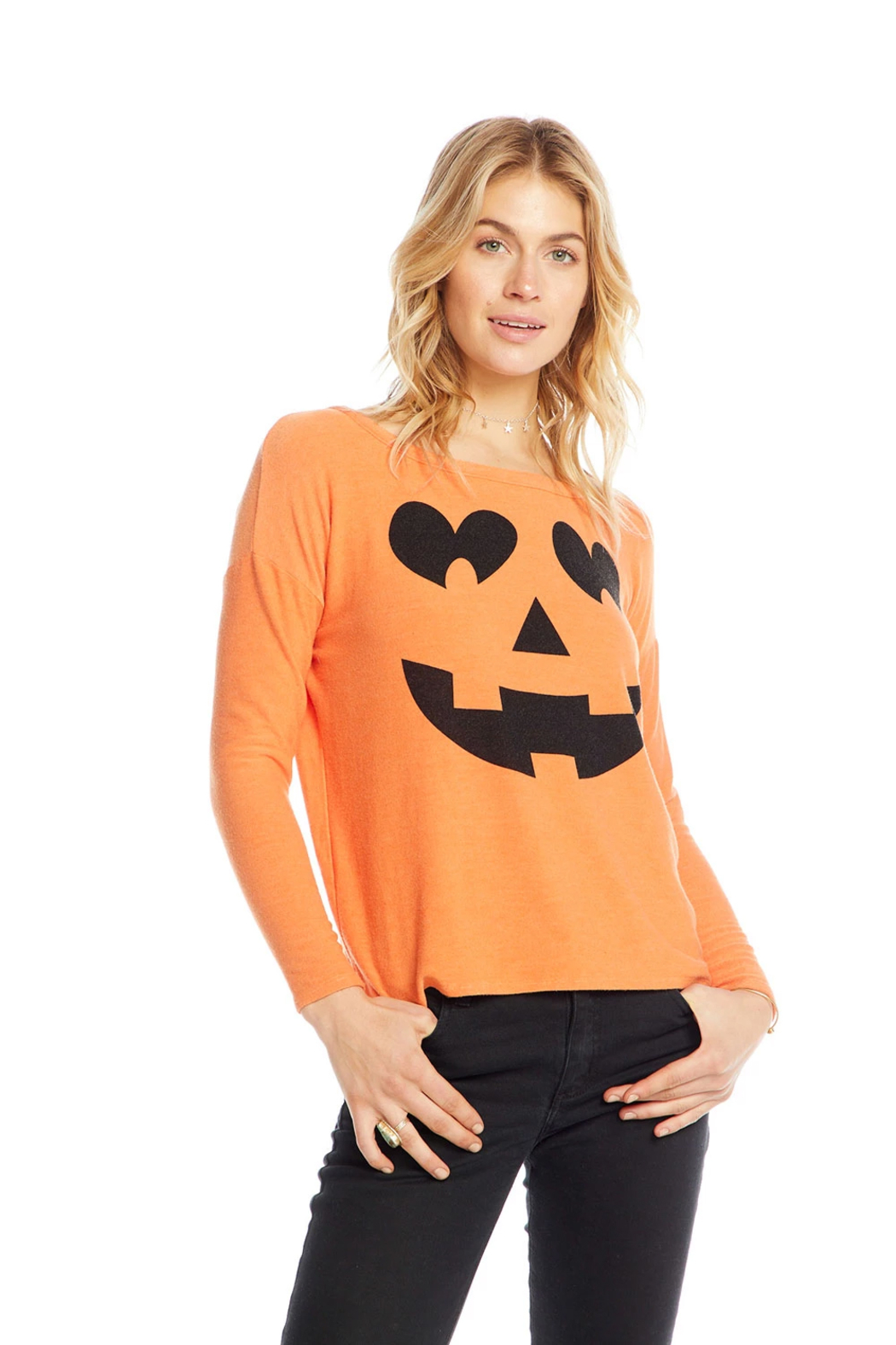 Chaser Pumpkin Face Knit - Side Cropped Image