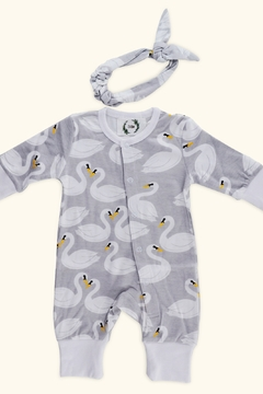 T & Tim Pure Cotton Girl's Swan Romper with Bow in Gray - Product List Image