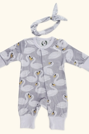 T & Tim Pure Cotton Girl's Swan Romper with Bow in Gray - Product Mini Image