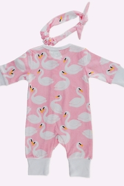 T & Tim Pure Cotton Girl's Swan Romper with Bow in Pink - Other