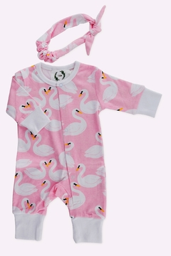 T & Tim Pure Cotton Girl's Swan Romper with Bow in Pink - Product List Image