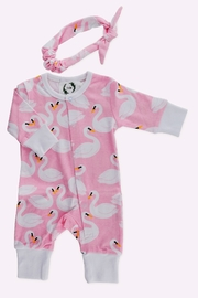 T & Tim Pure Cotton Girl's Swan Romper with Bow in Pink - Front cropped