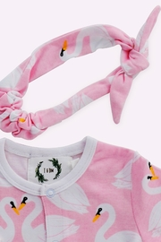 T & Tim Pure Cotton Girl's Swan Romper with Bow in Pink - Front full body