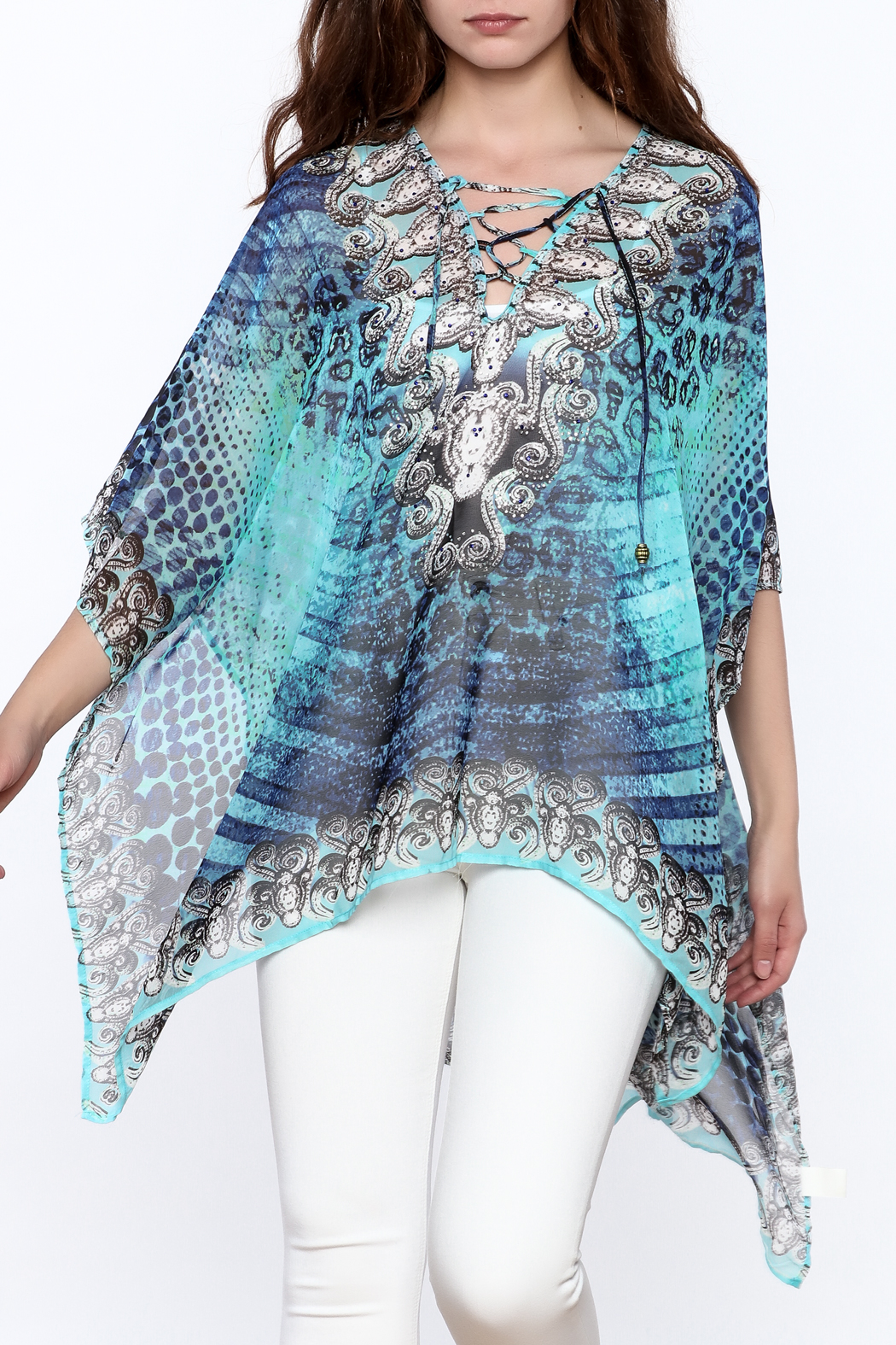 Pure Hype Blue Printed Kaftan Top - Main Image
