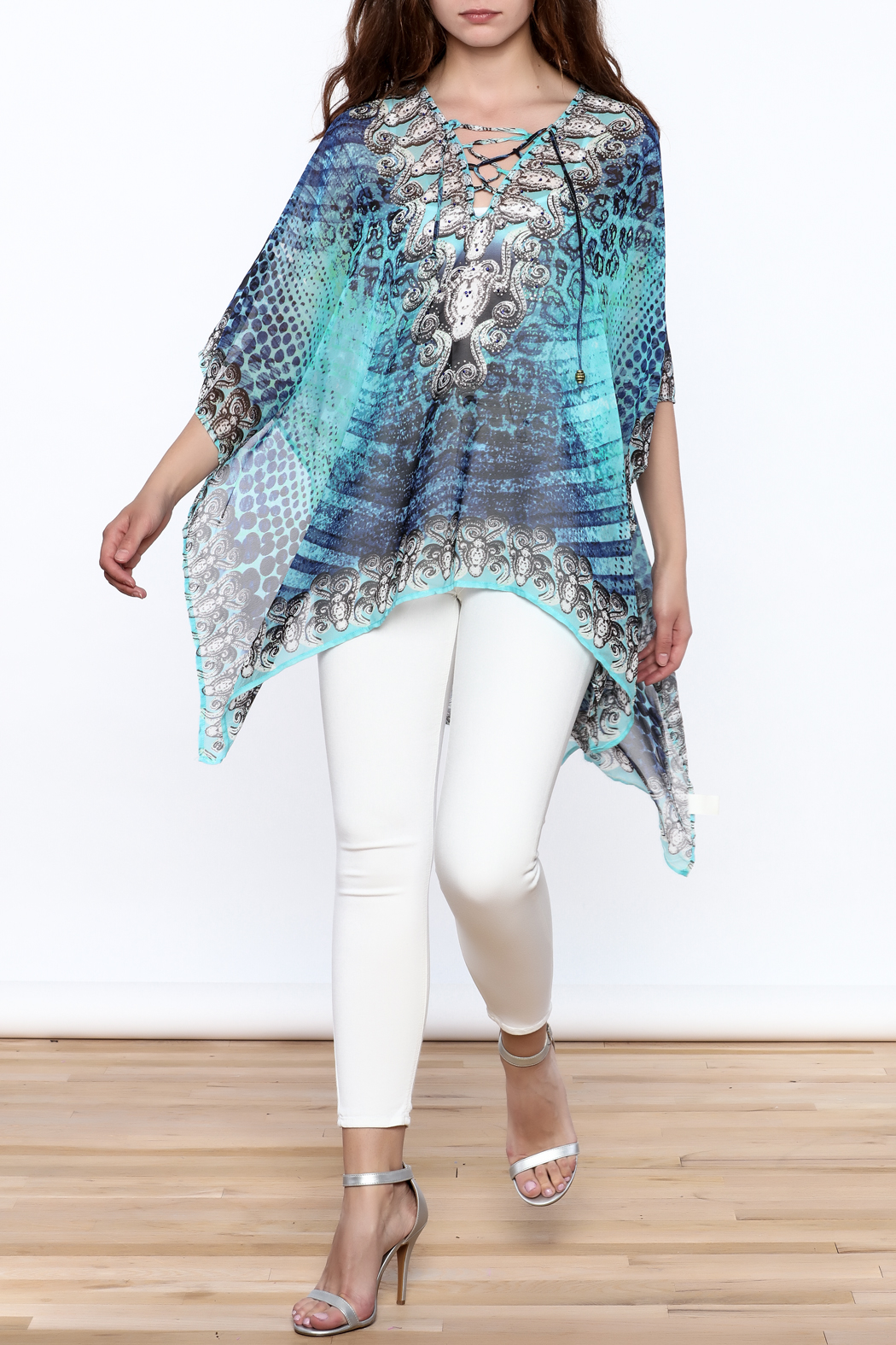 Pure Hype Blue Printed Kaftan Top - Front Full Image