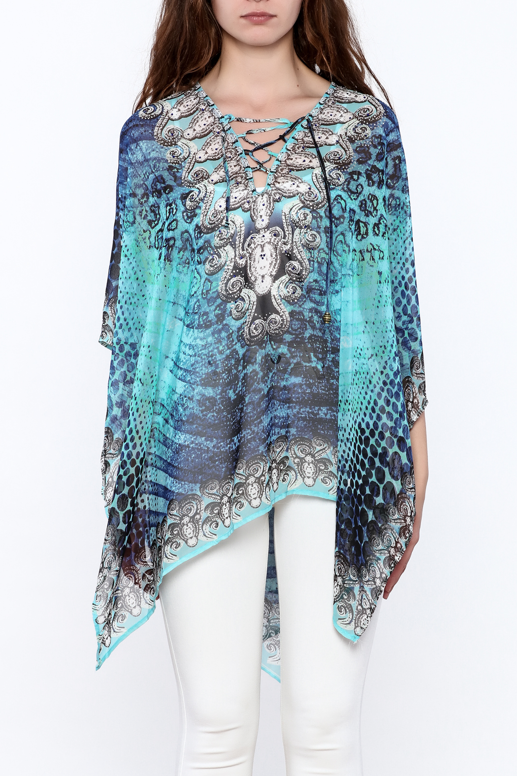 Pure Hype Blue Printed Kaftan Top - Side Cropped Image