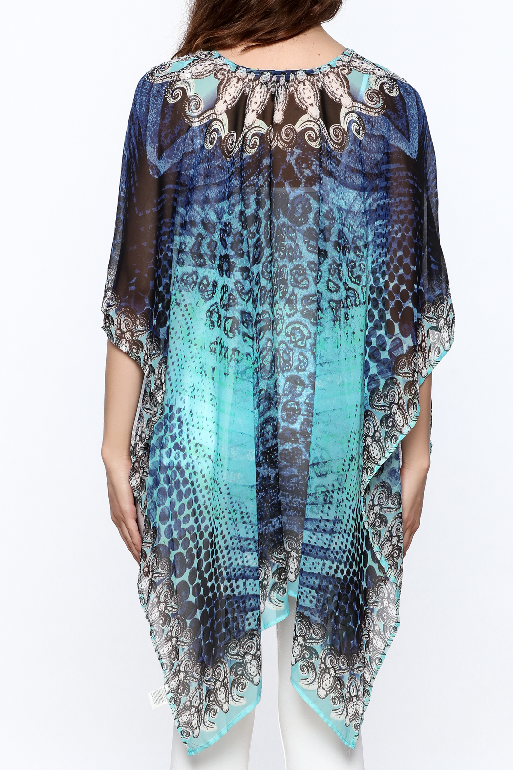 Pure Hype Blue Printed Kaftan Top - Back Cropped Image