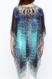 Pure Hype Blue Printed Kaftan Top - Back cropped