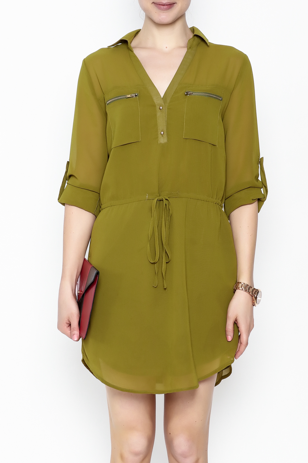 Pure Hype Green Tunic Dress - Front Full Image