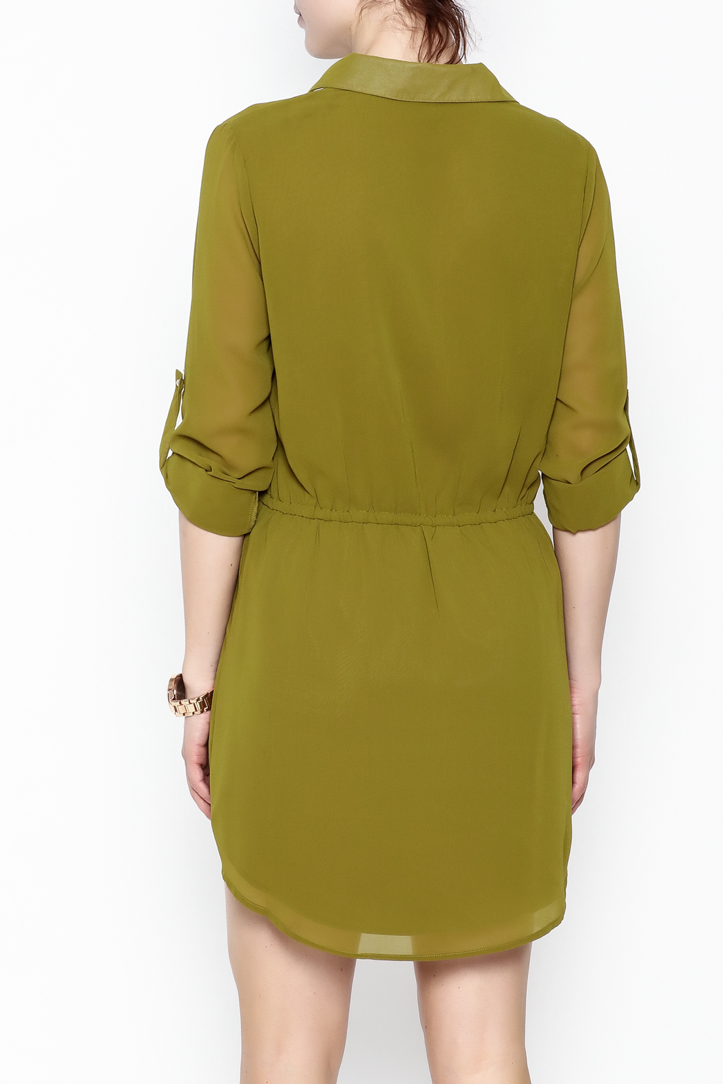 Pure Hype Green Tunic Dress - Back Cropped Image