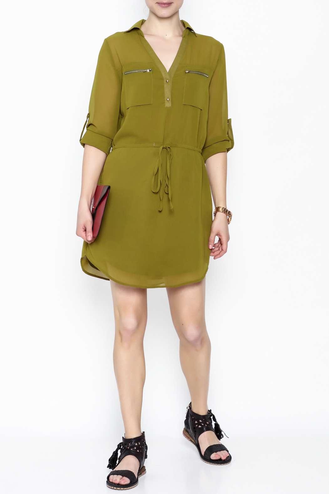 Pure Hype Green Tunic Dress - Side Cropped Image