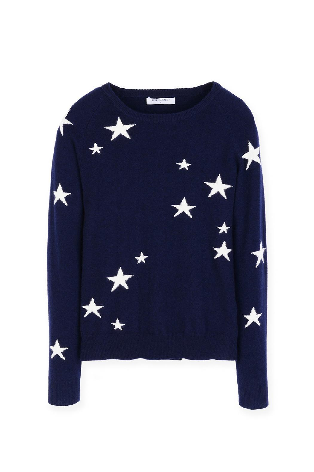 PURE CASHMERE Star Crewneck Sweater from New Jersey by ...