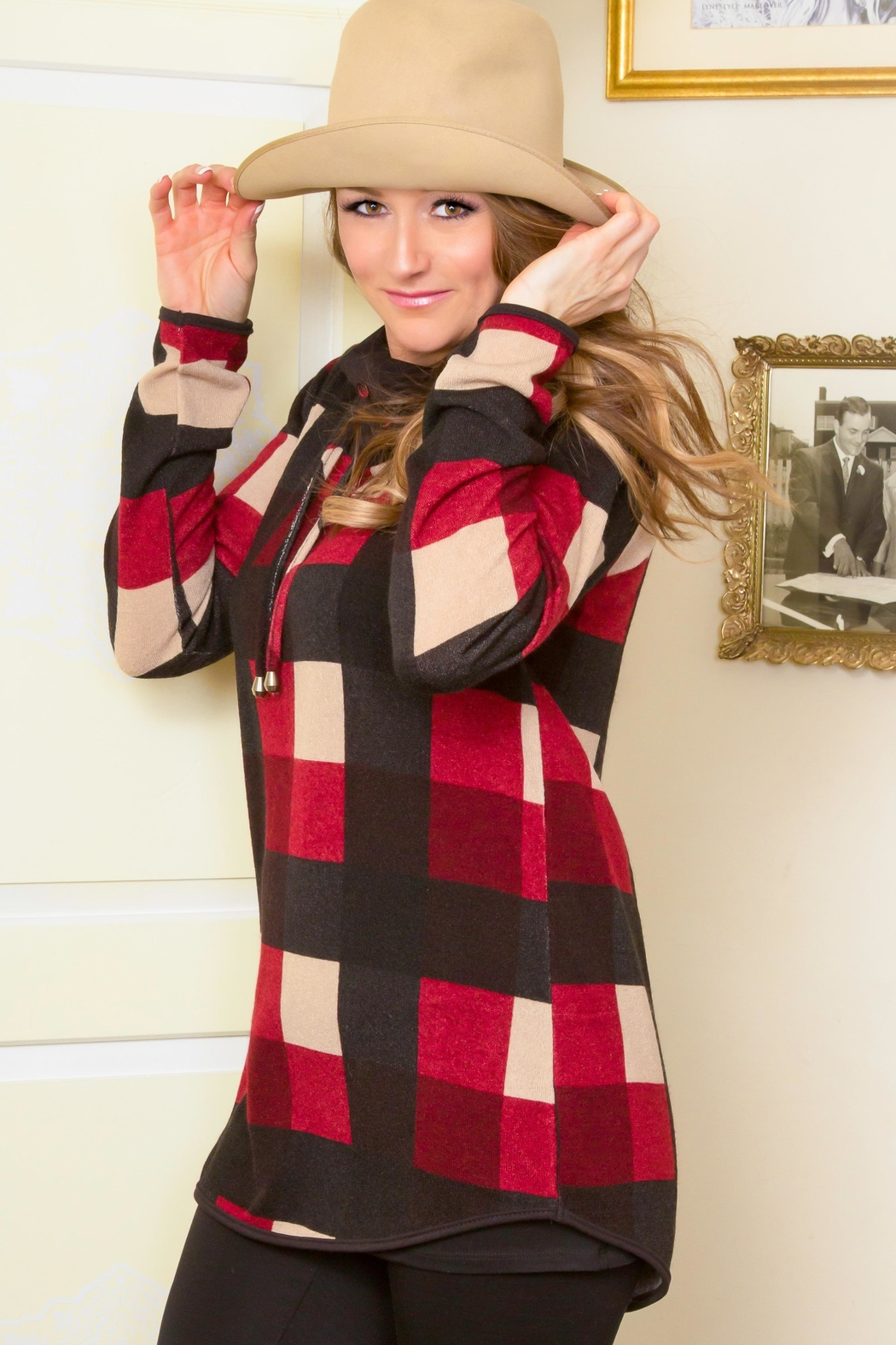Pure Essence Plaid Cowl Tunic - Front Cropped Image