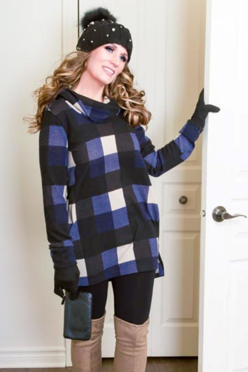 Pure Essence Plaid Cowl Tunic - Main Image