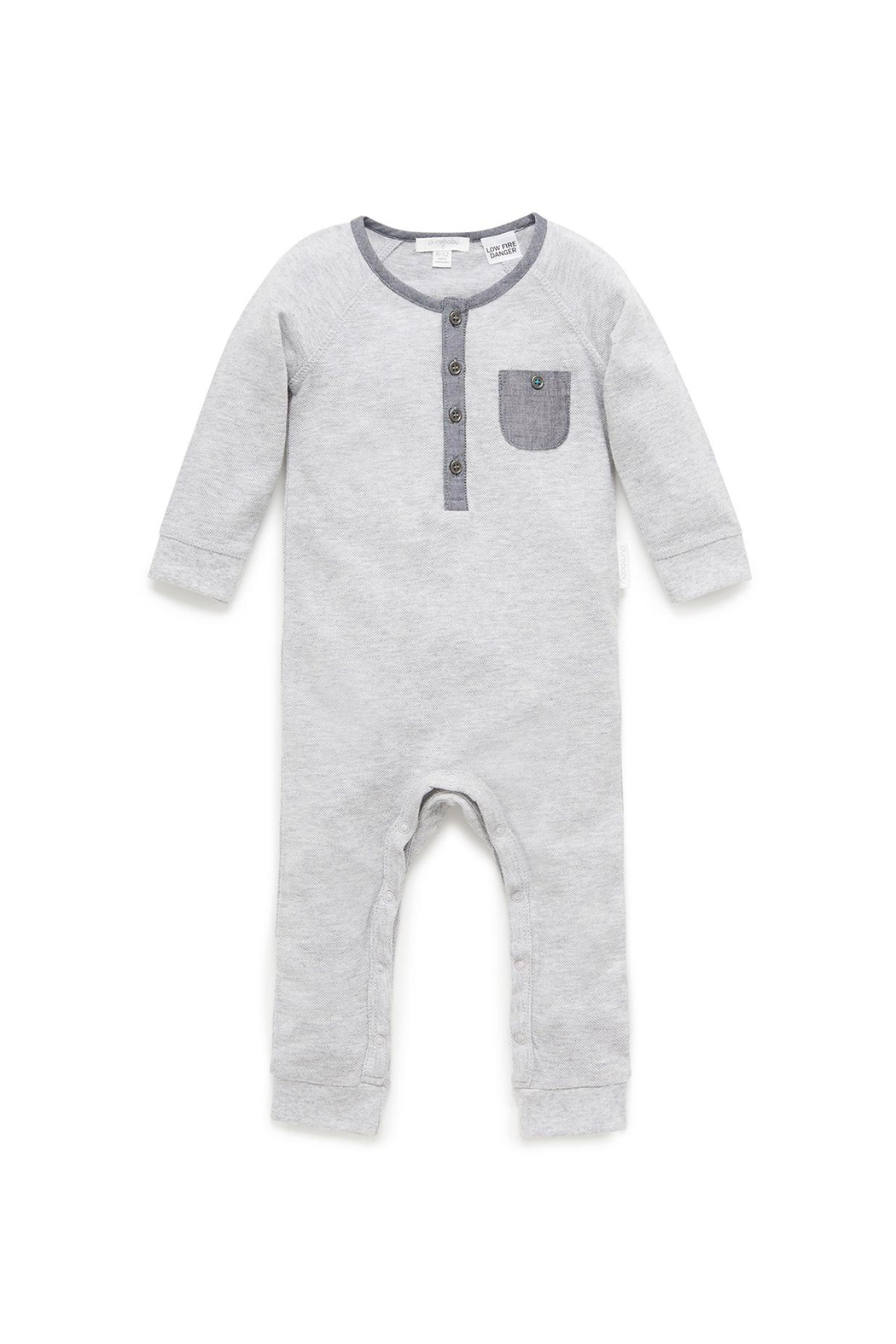 Purebaby Cloudy Night Growsuit - Front Cropped Image