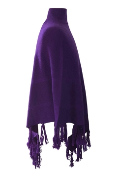 Venezia Cashmere Purple Cashmere Poncho - Alternate List Image