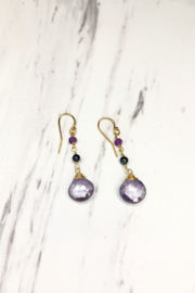 Anne Vaughn Designs Purple Crystal Dangle Earrings - Product Mini Image