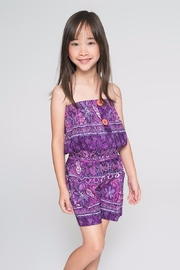 YO BABY Purple Floral Jumpsuit - Front cropped