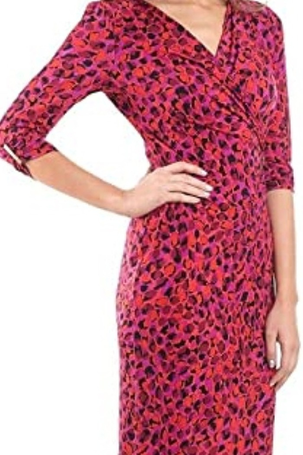 Joseph Ribkoff  Purple & Fuschia crossover dress - Front Full Image