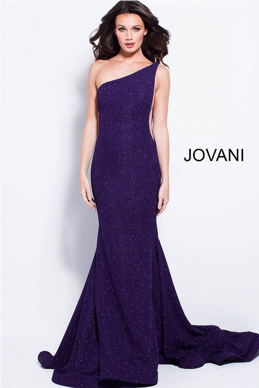 Jovani Purple Glitter Gown - Front Cropped Image