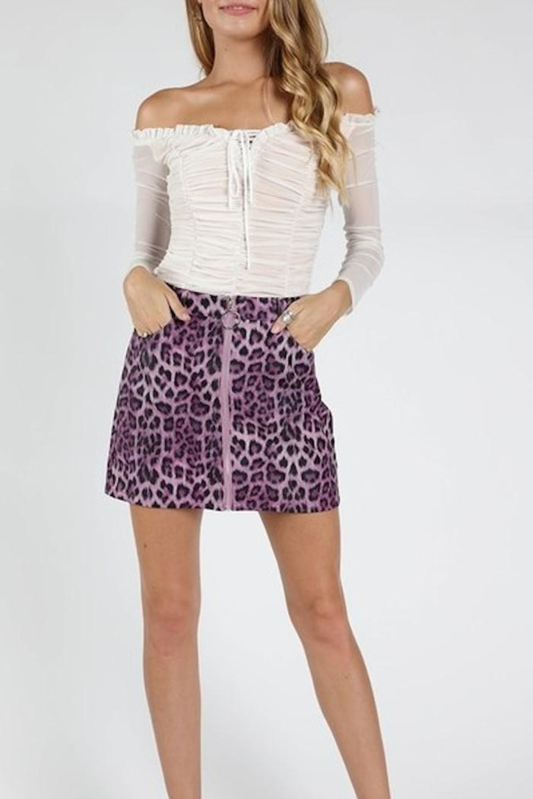 Honey Punch Purple Leopard Skirt - Main Image