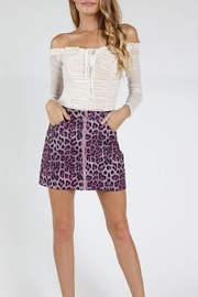 Honey Punch Purple Leopard Skirt - Front cropped