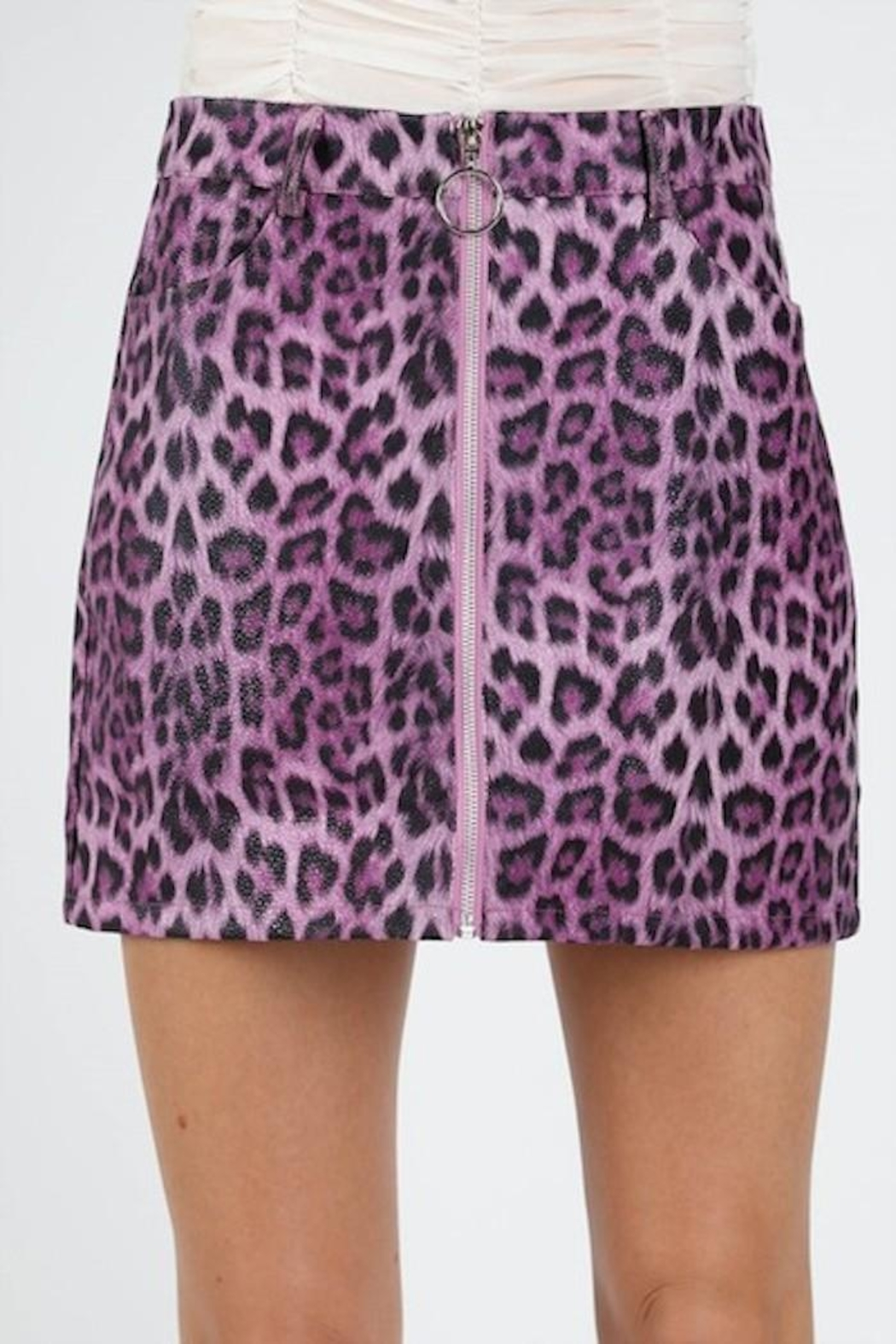Honey Punch Purple Leopard Skirt - Front Full Image