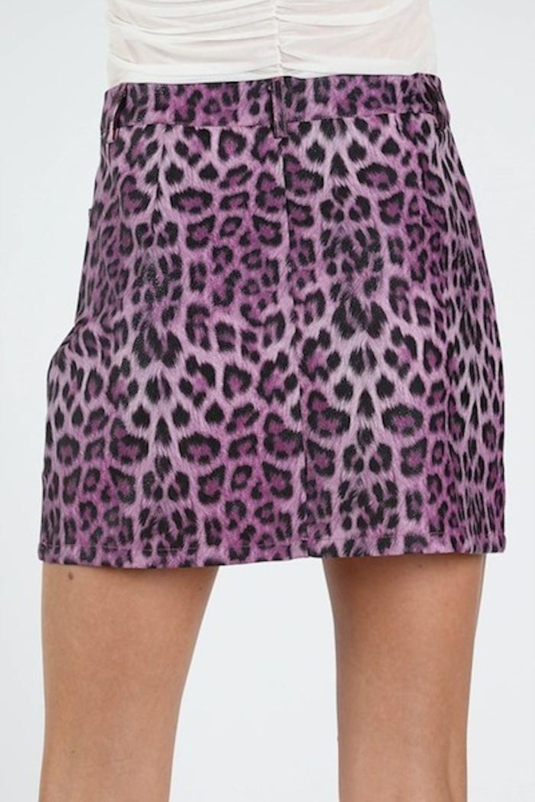 Honey Punch Purple Leopard Skirt - Side Cropped Image