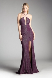 Cinderella Divine Purple Metallic Fit & Flare Long Formal Dress - Product Mini Image