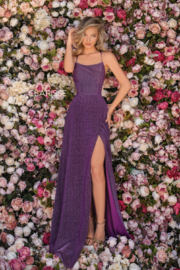 CLARISSE Purple Metallic Gown - Front cropped