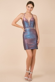 NOX A N A B E L Purple Metallic Sweetheart Short Formal Dress - Product Mini Image