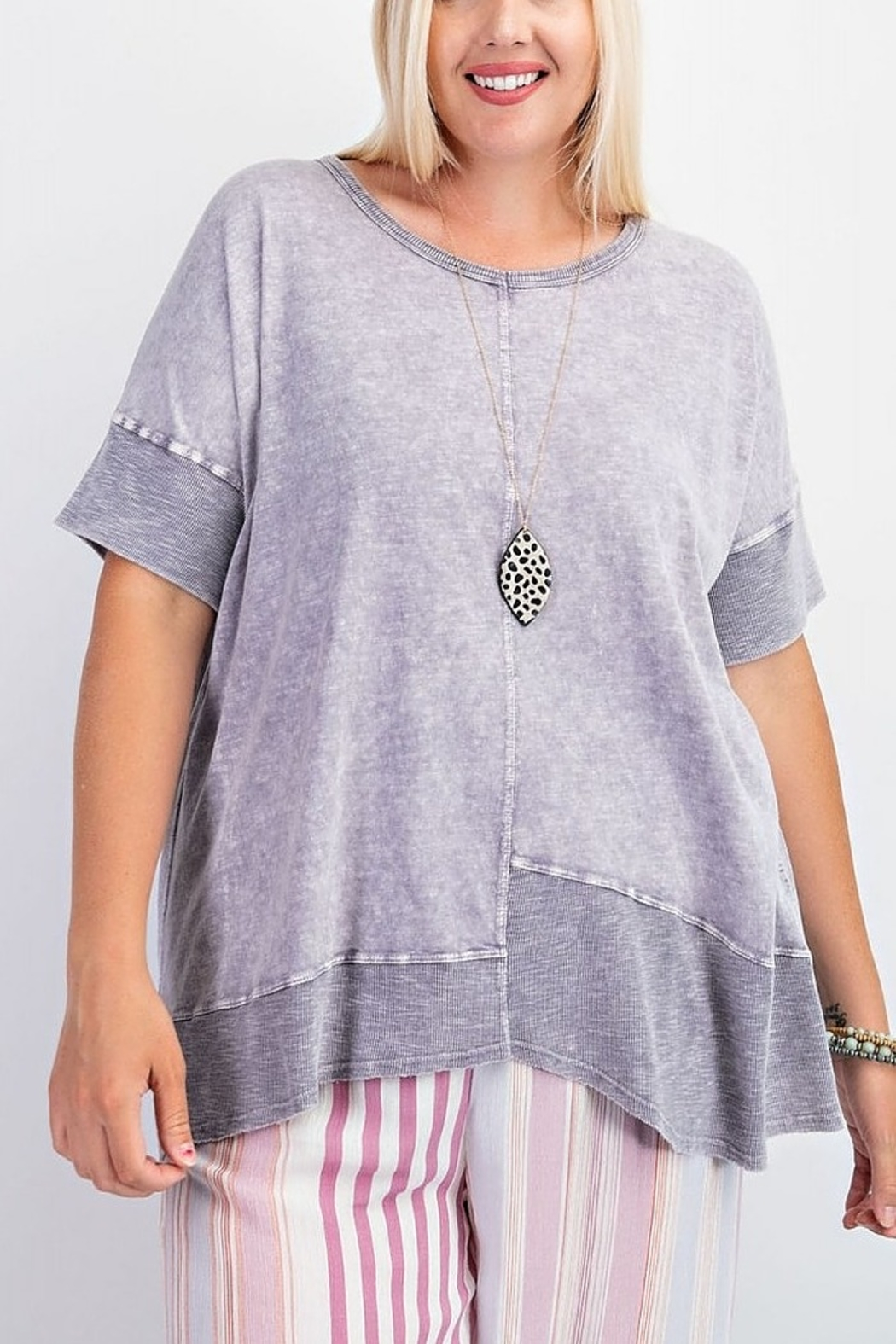 Easel  Purple Mineral Tunic - Side Cropped Image