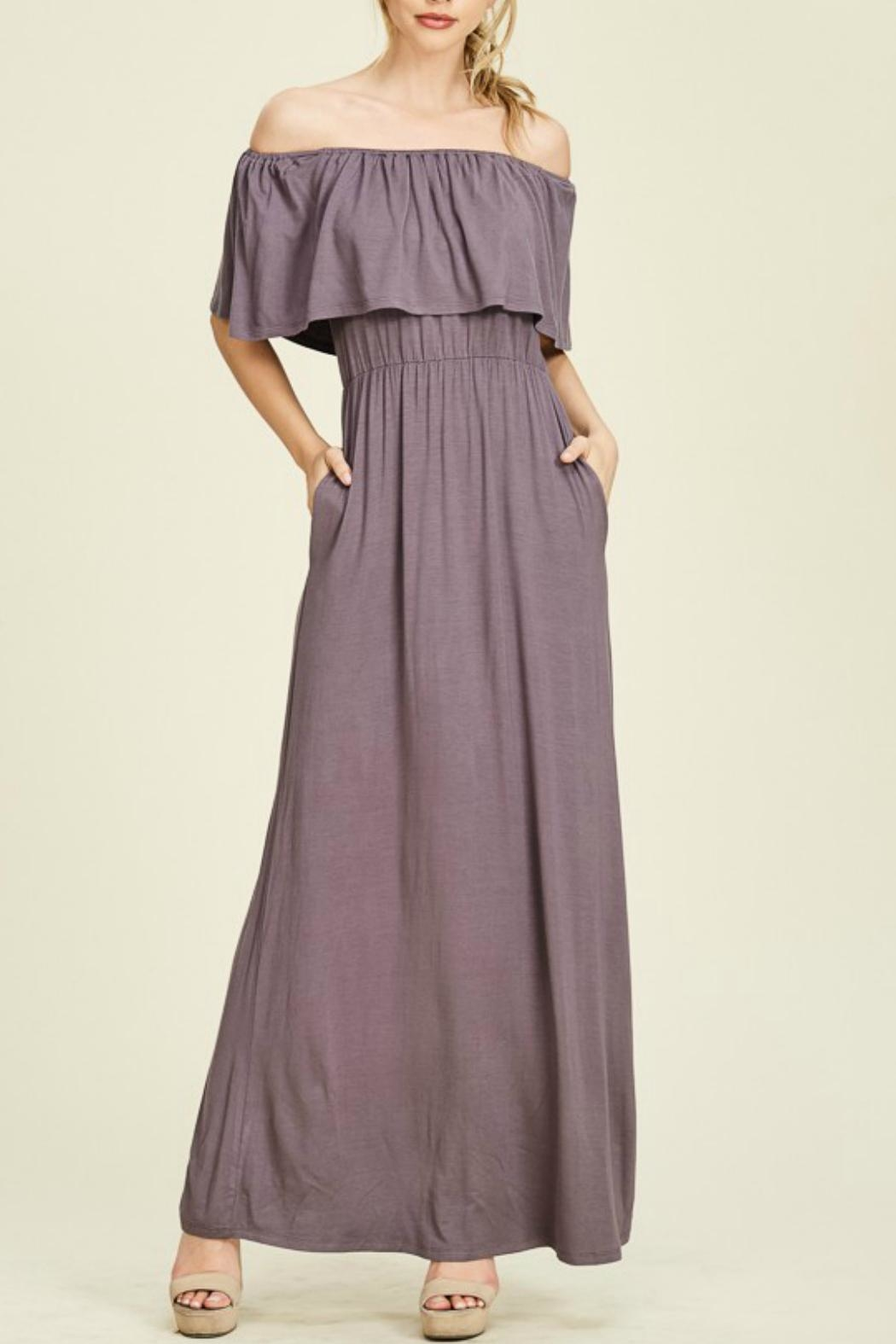 Staccato Purple Off-The-Shoulder Maxi - Main Image