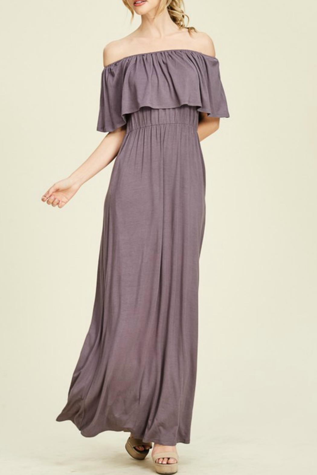 Staccato Purple Off-The-Shoulder Maxi - Side Cropped Image