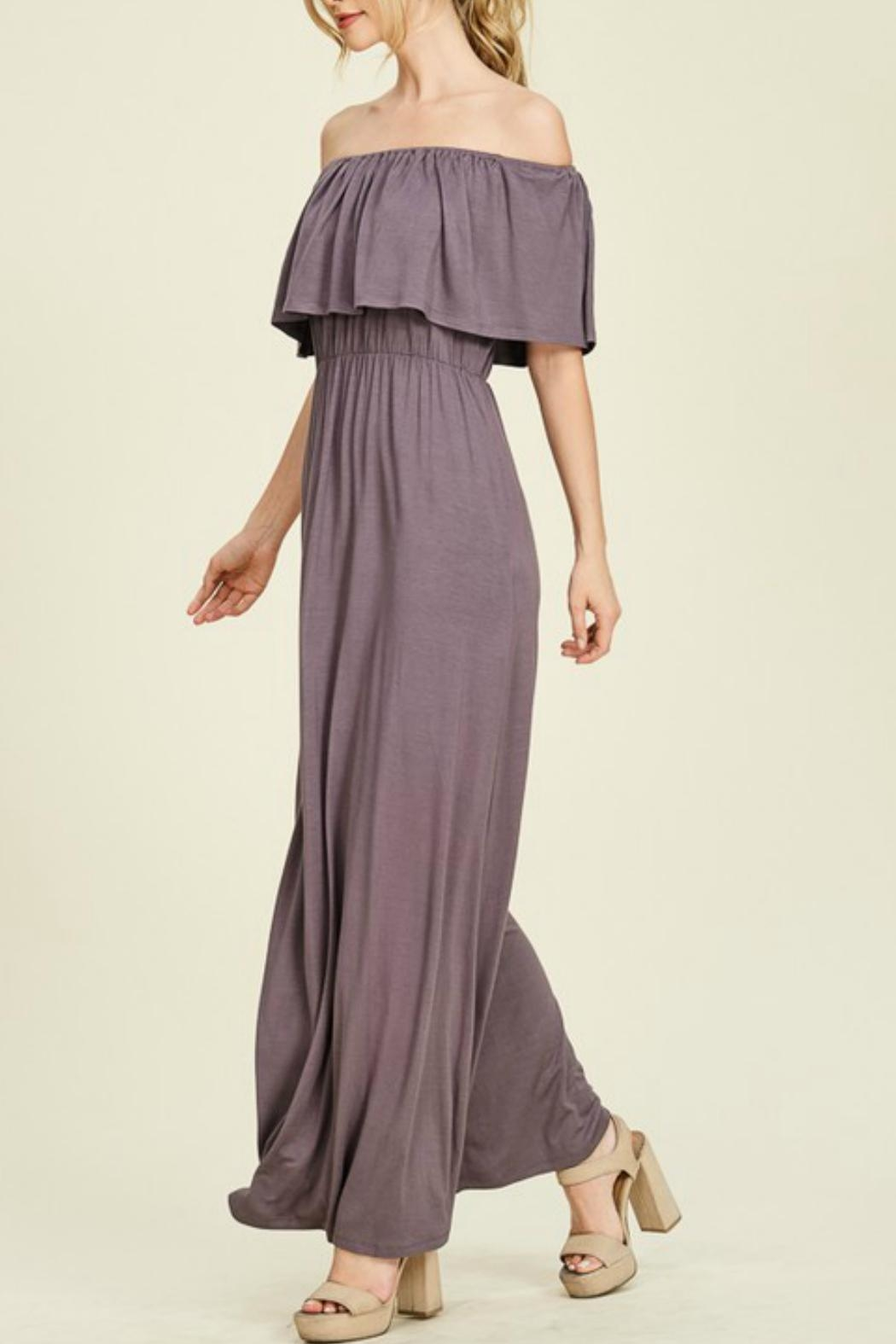 Staccato Purple Off-The-Shoulder Maxi - Front Full Image