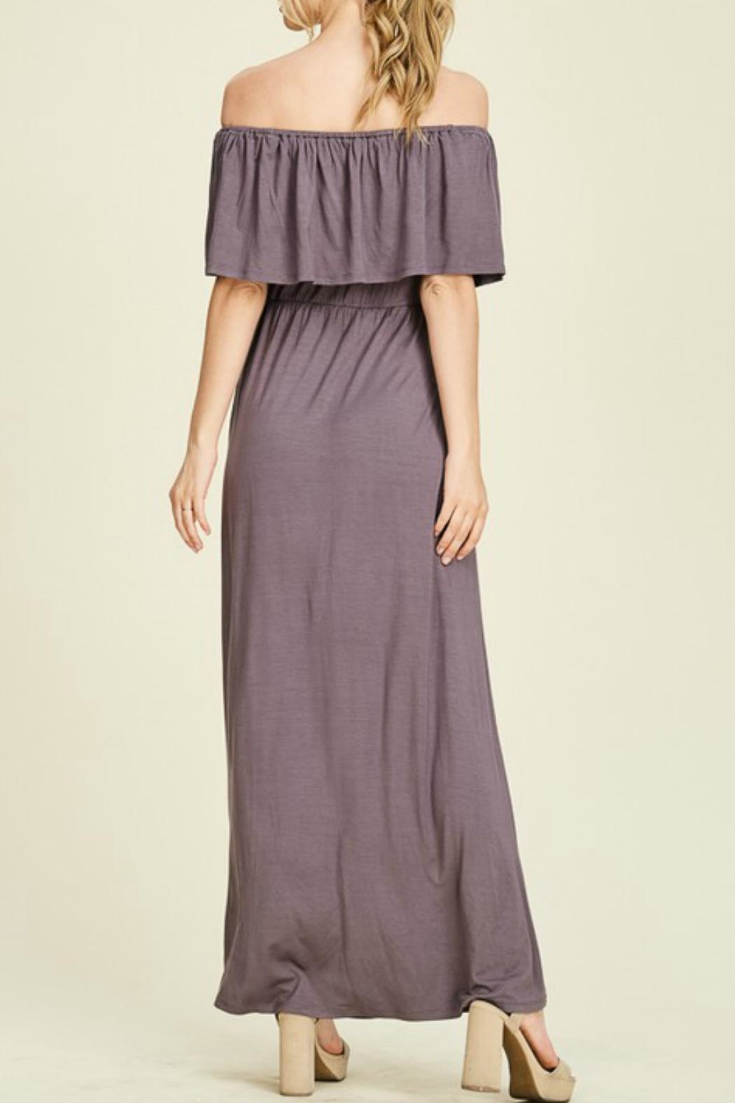 Staccato Purple Off-The-Shoulder Maxi - Back Cropped Image