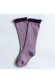 Little Stocking Co Purple + Plum Lace Top Knee High Socks - Product Mini Image