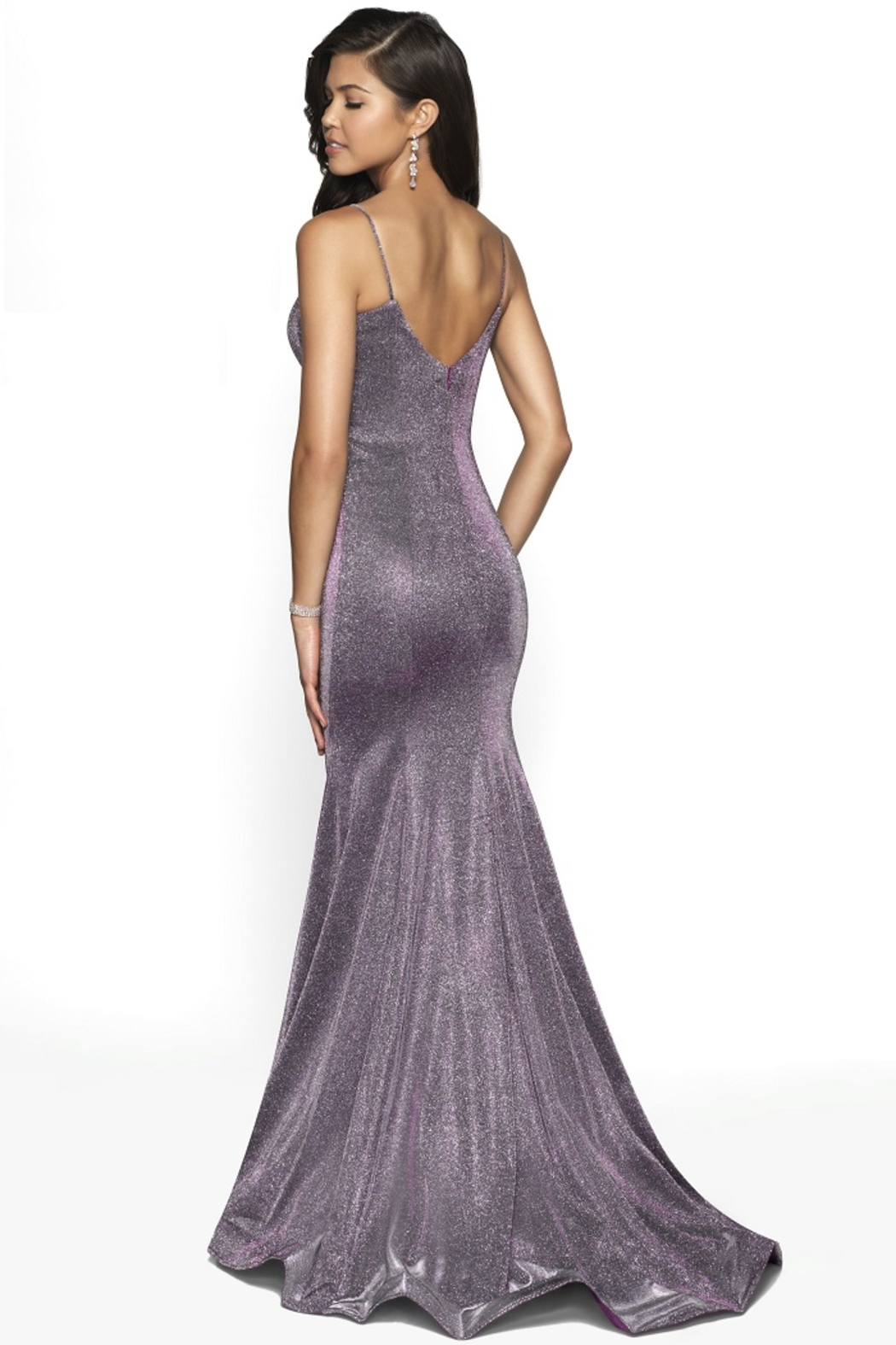 Blush Prom Purple Shimmer Fit & Flare Long Formal Dress - Front Full Image