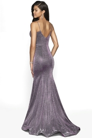 Blush Prom Purple Shimmer Fit & Flare Long Formal Dress - Front full body