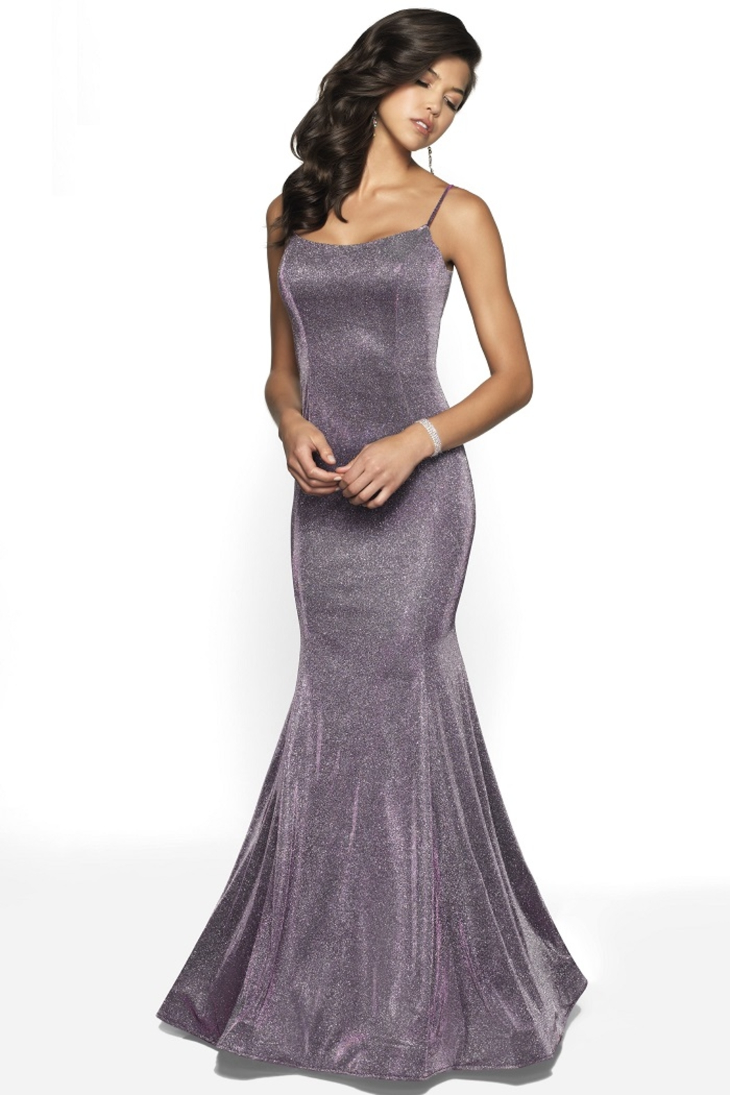 Blush Prom Purple Shimmer Fit & Flare Long Formal Dress - Main Image