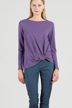 Clara Sunwoo Purple top with soft twist hem - Product List Image