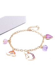 Hopscotch Kids Purple Unicorn Rainbows Charm Bracelet - Product Mini Image