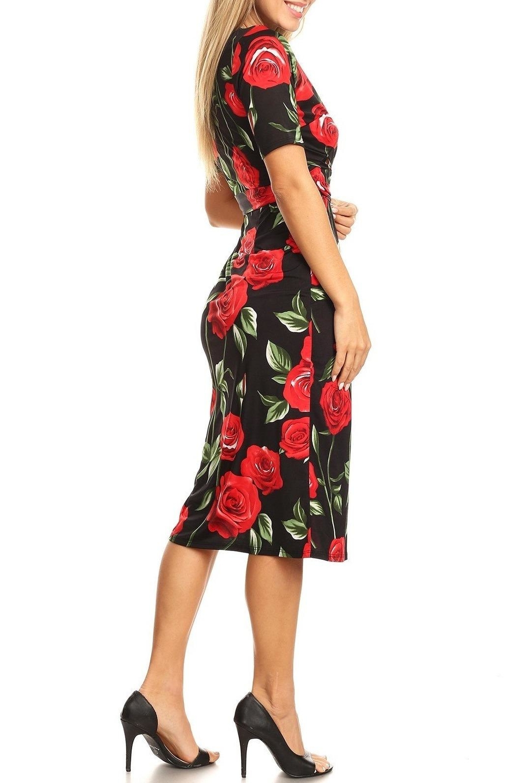Purple Rain Red Roses Dress - Side Cropped Image