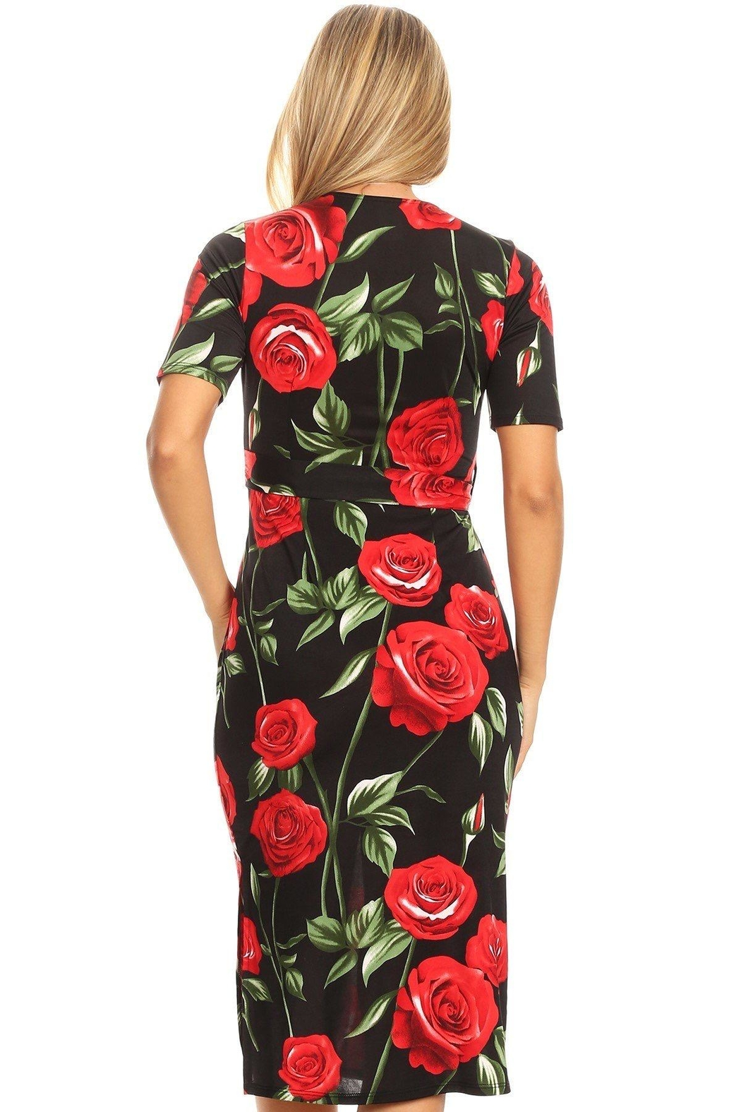 Purple Rain Red Roses Dress - Back Cropped Image