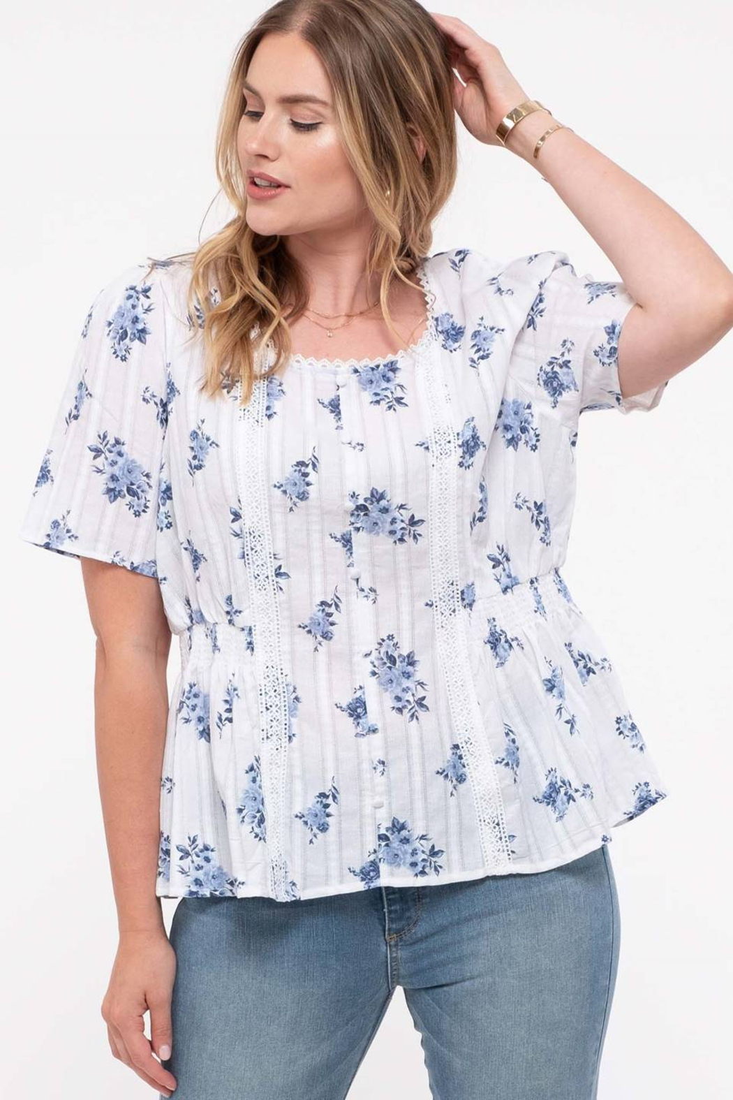 perch Plus Scoop Neck Peplum Top - Front Cropped Image