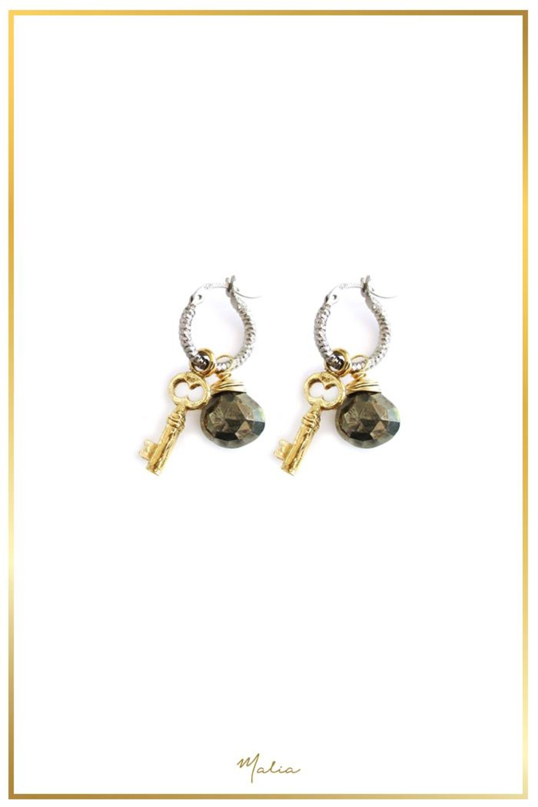 Malia Jewelry Pyrite Key Hoops - Main Image