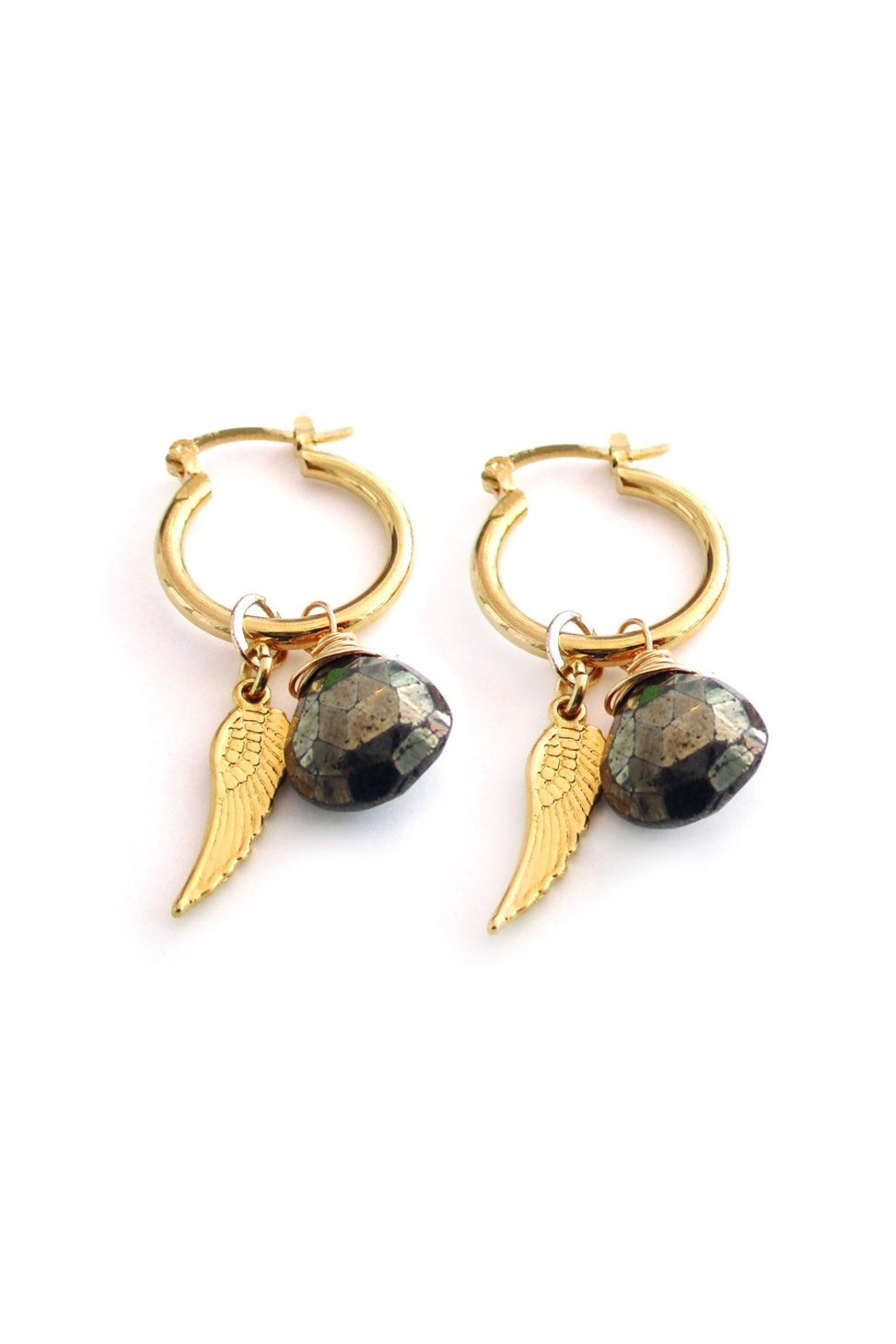 Malia Jewelry Pyrite Wing Hoops - Front Full Image
