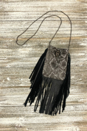 Leatherock Python Fringe Body Bag w Crystal - Product Mini Image